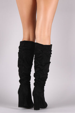 Suede Pointy Toe Chunky Heeled Knee High Boots
