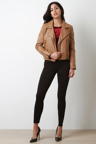 Vegan Leather Flap Collar Zip Up Jacket