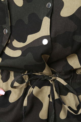 Camouflage Button-Up Jumpsuit