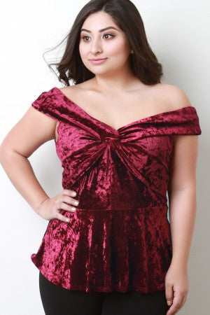 Crush Velvet Twisted Bardot Peplum Top