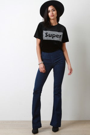 Denim High Rise Flared Jeans