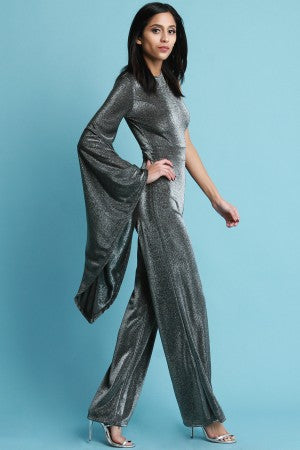 Metallic Asymmetrical Statement Sleeve Jumpsuit