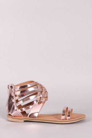 Qupid Mirrored Metallic Strappy Woven Gladiator Flat Sandal