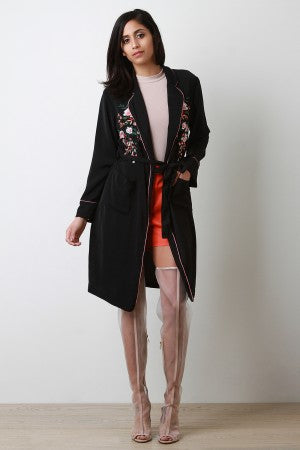 Floral Embroidered Waist Sash Cardigan
