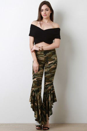 Camouflage Asymmetrical Bell Bottom Pants
