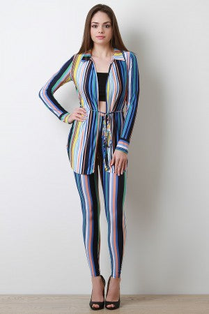 Vertical Striped Waist-Tie Cardigan with Leggings Set
