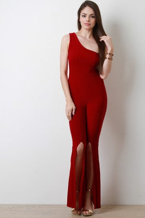 One Shoulder Vent Slit Flare Cut Jumpsuit