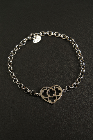 Bracciale Cuore Catena Rolò - Acciaio / Stainless Steel