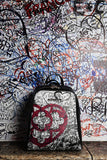 "Zaino in pelle ""Graffiti Line"" NERO"