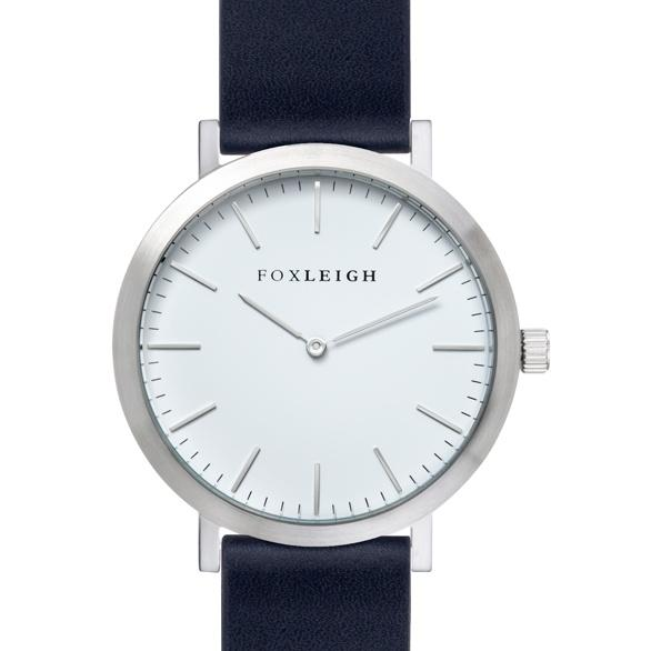 Silver & Navy Leather Timepiece