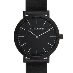 Black & Black Leather Timepiece