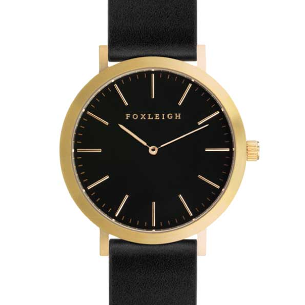 Gold & Black Leather Timepiece