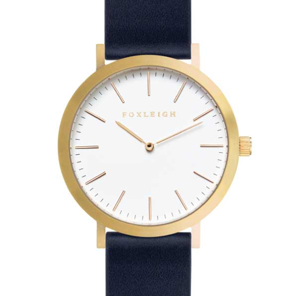 Gold & Navy Leather Timepiece