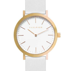 Gold & White Leather Timepiece