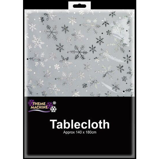 Red White Silver Snowflake Tablecloth Davies Christmas