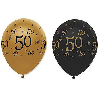 Creative Party Latex Balloons Black & Gold Age 50