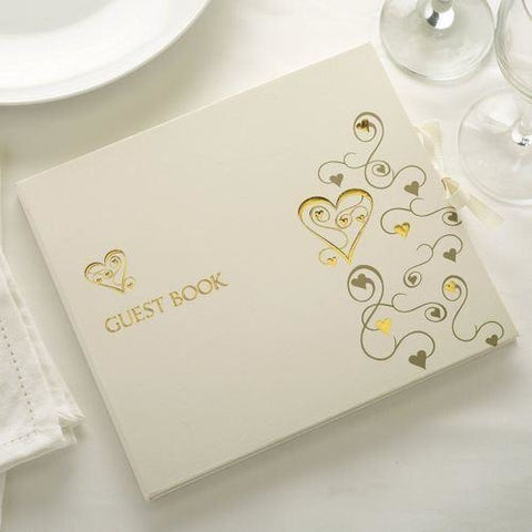 Guest Book - Gold Hearts