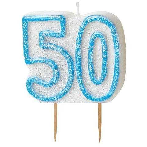 Birthday Blue Glitz Number 50 Numeral Candles