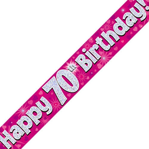 Pink Holographic Foil Birthday Age 70 Banner. Happy 70th Birthday Banner - Wholesale