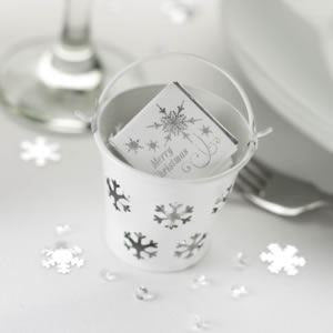 Shimmering Snowflake Pails - White