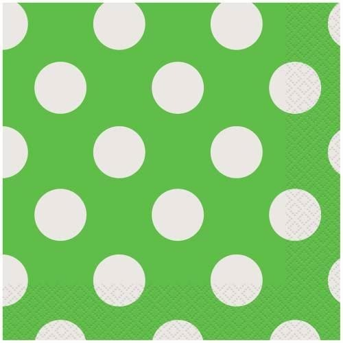 16 Lime Green Dots Beverage Napkins