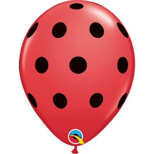 "Qualatex 11"" Round Red Big Polka Dots X25"