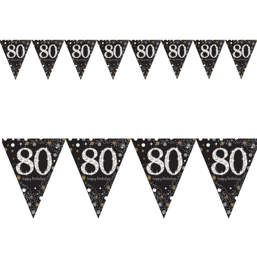 Amscan Gold Sparkling Pennant Bunting Age 80