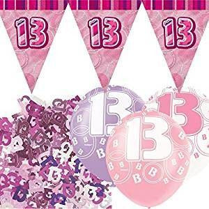 Glitz Pink Flag Banner Decoration Pack Age 13 13th