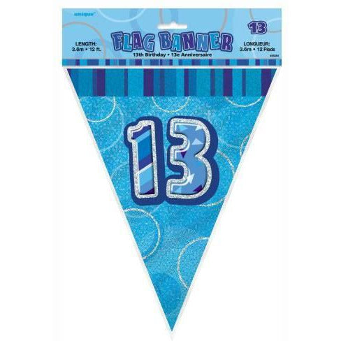 Blue Glitz Flag Banner Age 13 (special price of 42p) (Also Upstairs)