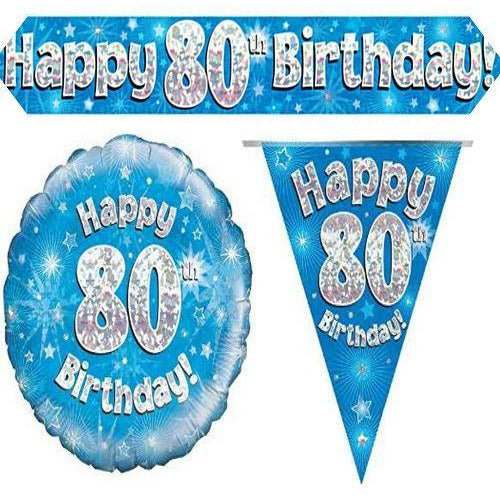 BPWFA-4136 BLUE Age 80 Oaktree Banner Balloon Bunting Set