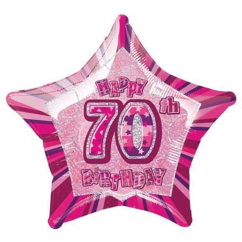 "Pink Star Prism Age 70 Foil Balloon 20"" - Unique - Packaged"