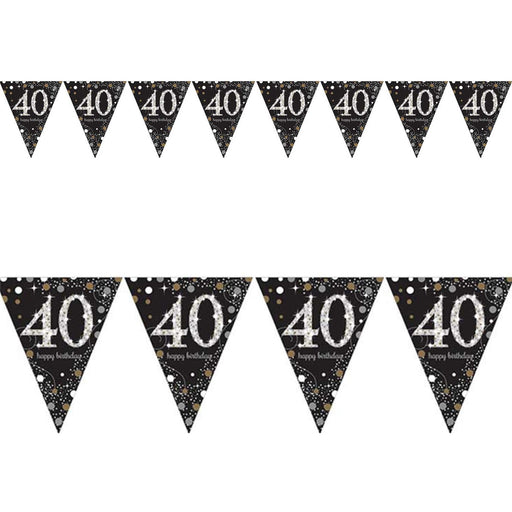 Amscan Gold Sparkling Pennant Bunting Age 40