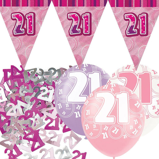 Glitz Pink Flag Banner Decoration Pack 21st