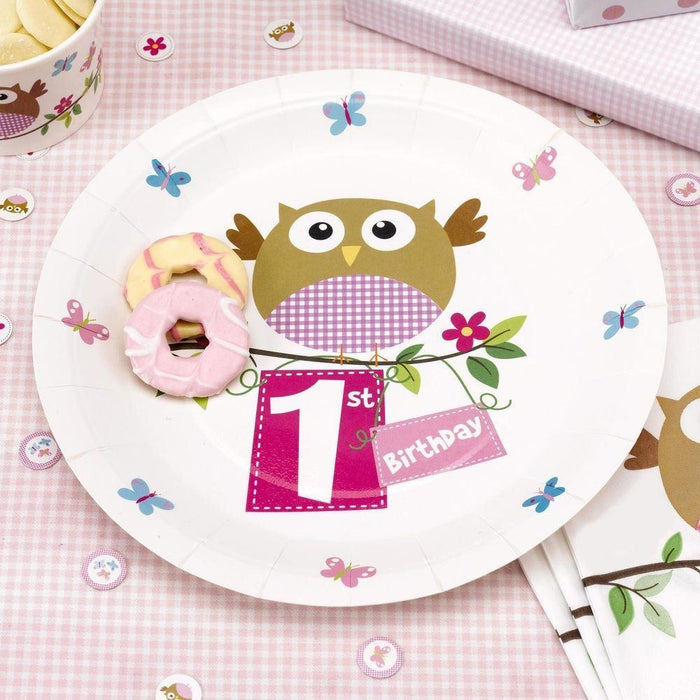 Little Owls - 1st Birthday Plate - 8 - Pink