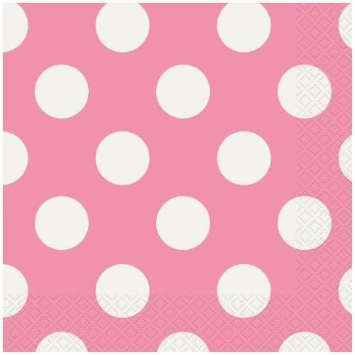 16 Hot Pink Dots Lunch Napkins