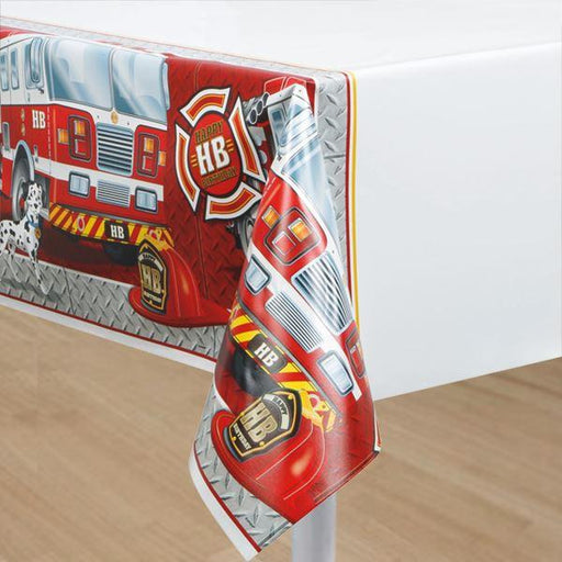 Fire truck table cover (Clear Tubs - Stacked)