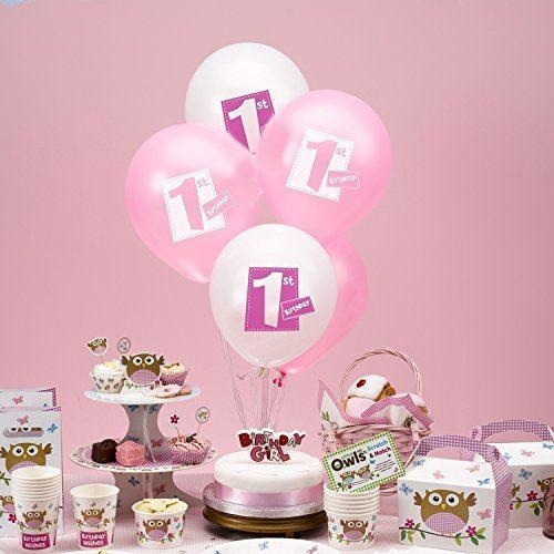 Little Owls - 1st Birthday Balloons - 8 - Pink