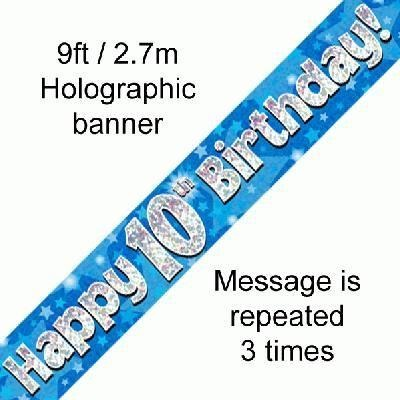 Blue Holographic Foil Birthday Age 10 Banner. Happy 10th Birthday Banner - Wholesale