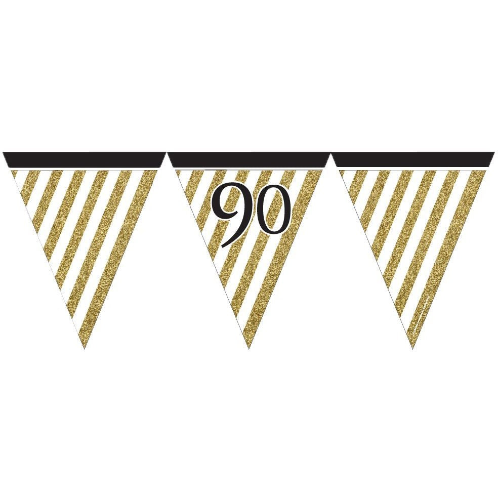 Black and Gold 90 Paper Flag Bunting