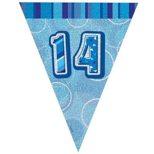 Blue Glitz Age 14 Flag Banner 9ft