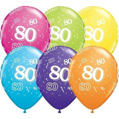 Birthday Latex Balloons Age 80  Retail Pack