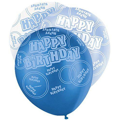 Blue Glitz Latex Balloons Happy Birthday (Special price of 65p)