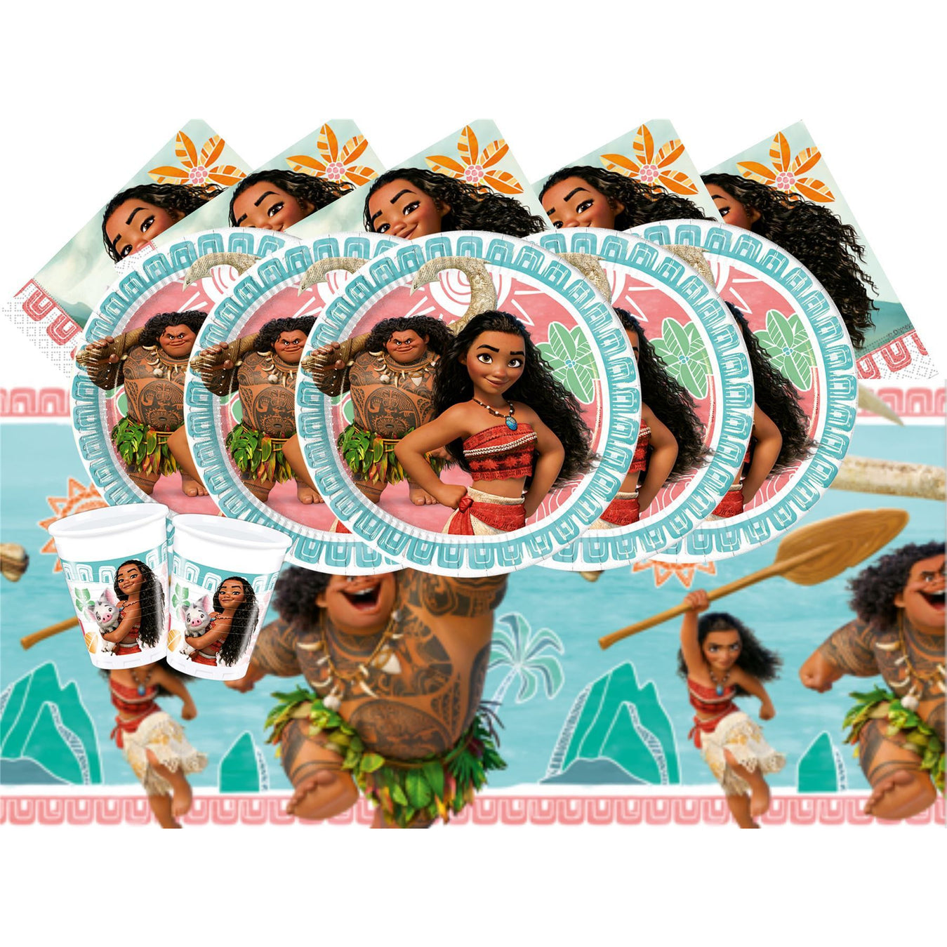 Moana set for 8-Includes 8 Cups, 8 Paper Plates, 16 Napkins,1 Table cover