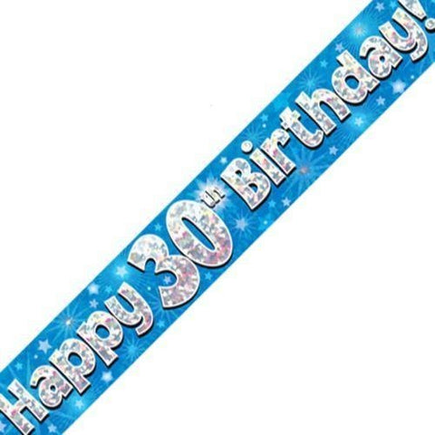 Blue Holographic Foil Birthday Age 30 Banner. Happy 30th Birthday Banner - Wholesale