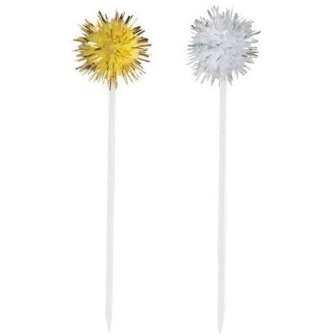 Silver and Gold Pom Pom Food and Cocktail Picks, 8ct