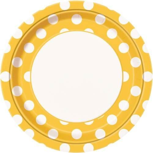 "8 Sunflower Yellow Dots 9"" Plates"