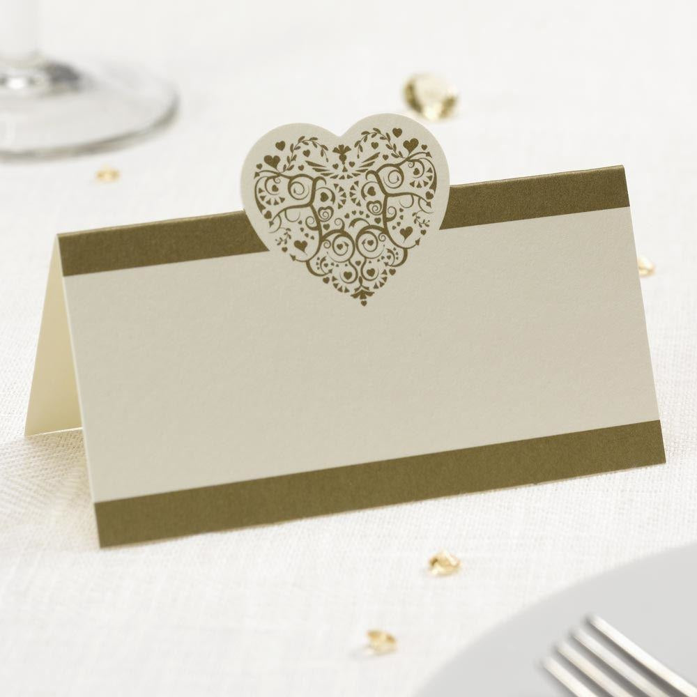 Vintage Romance - Tent Place Card - 100 - Ivory/Gold