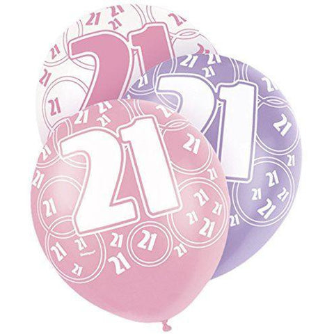 Pink Glitz Latex Balloons Age 21 (Special price of 65p)