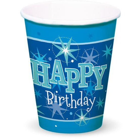 CUPS 200ML 8CT,  HAPPY BDAY BLUE SPARKLE