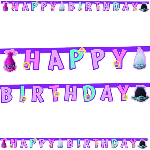 BANNER 1CT - HAPPY BIRTHDAY,  TROLLS
